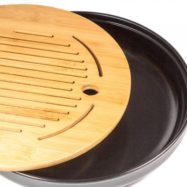 Чайная доска (чабань) «Черный круг» меламин 25см