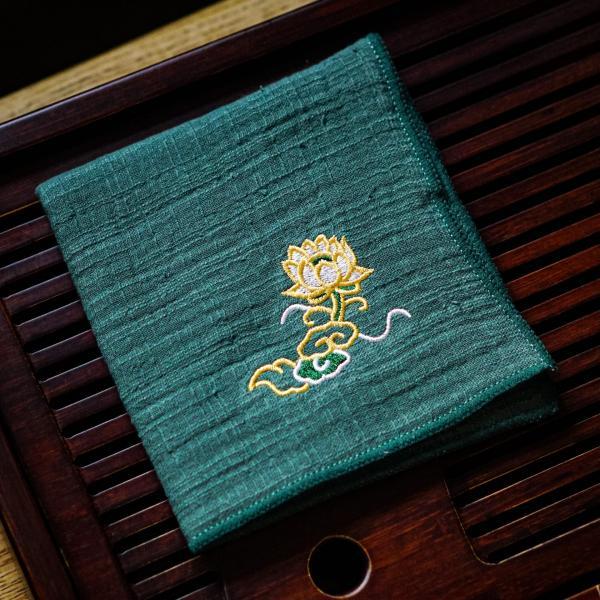 Чайное полотенце «Зеленый лотос» 23×26 см фото