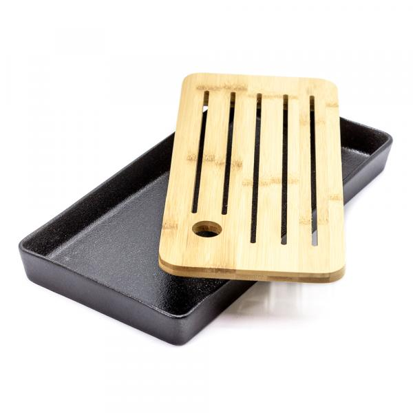 Чайная доска (чабань) «Прямоугольник» бамбук и керамика 27×14см