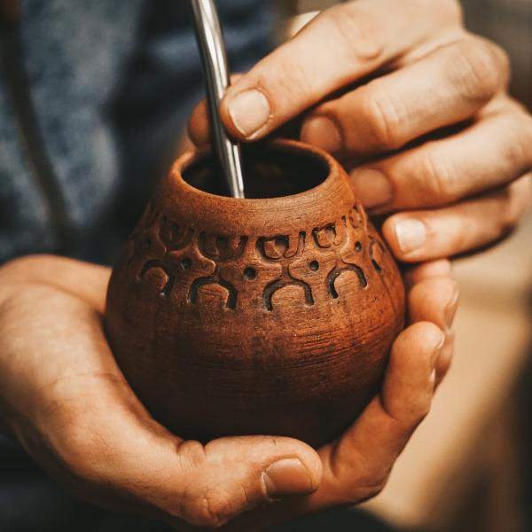 Калабас для Матэ «Шаманский танец» глина 225 мл фото