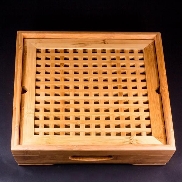 Чайная доска (чабань) «Клетка» бамбук 29х29 см фото