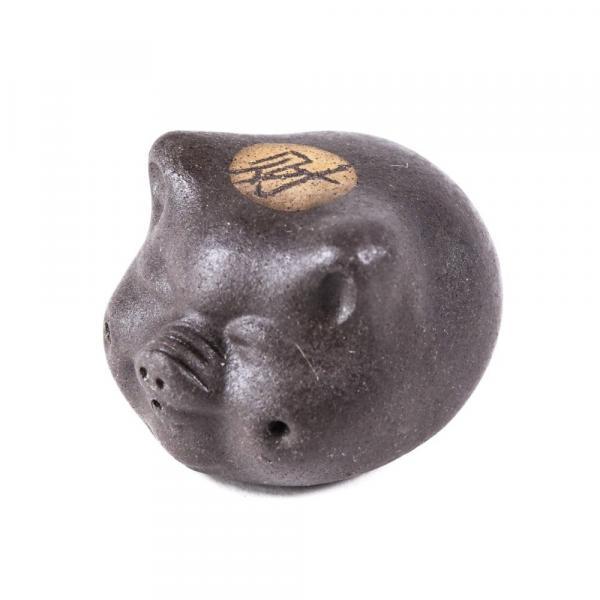 Чайная фигурка Хрюшка голова коричневая фото
