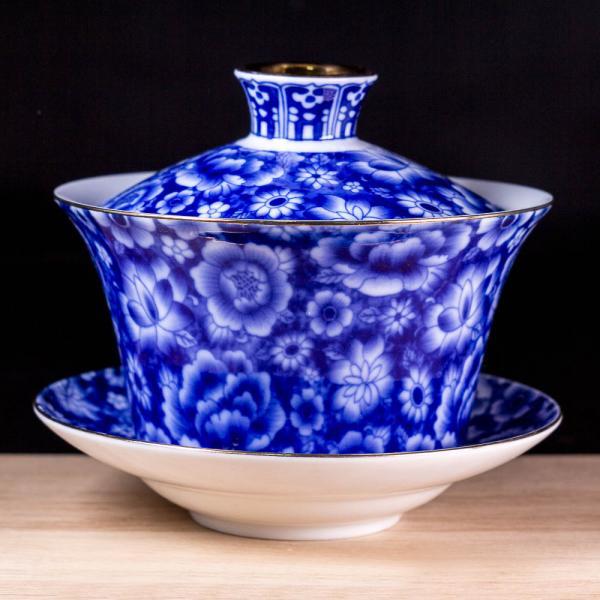 Гайвань «Синие цветы» фарфор 270 мл фото