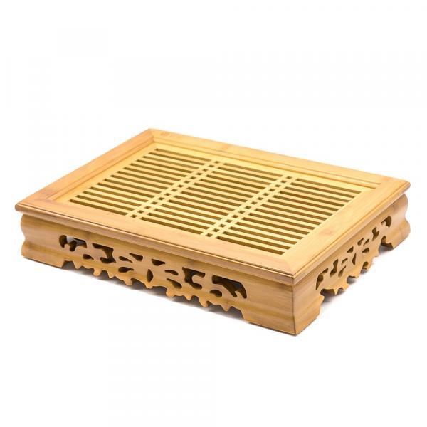Чайная доска (чабань) «Узоры» из бамбука 37х26см