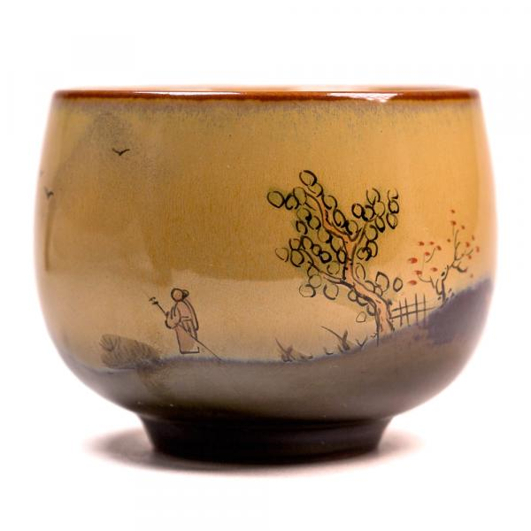 Пиала «Весенний сад долгожителя 584» керамика и глазурь 80 мл (ручная работа) фото
