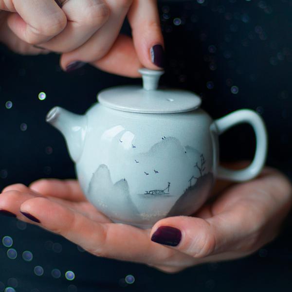 Чайник «Беседа в горах 204» тонкостенная керамика 160 мл (ручная роспись) фото