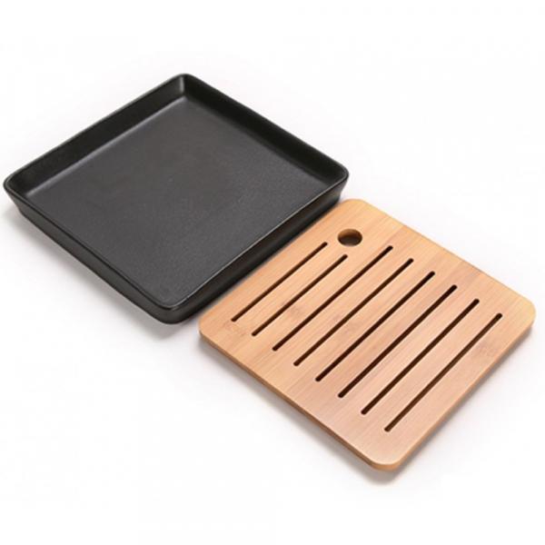 Чайная доска (чабань) «Квадрат» из бамбука и керамики 21х21см