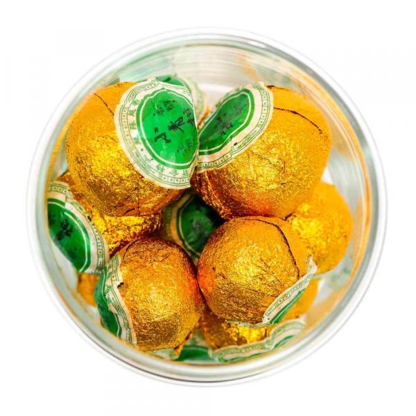 Чай Пуэр Шу высшего сорта в мандарине (цитрусовый аромат)