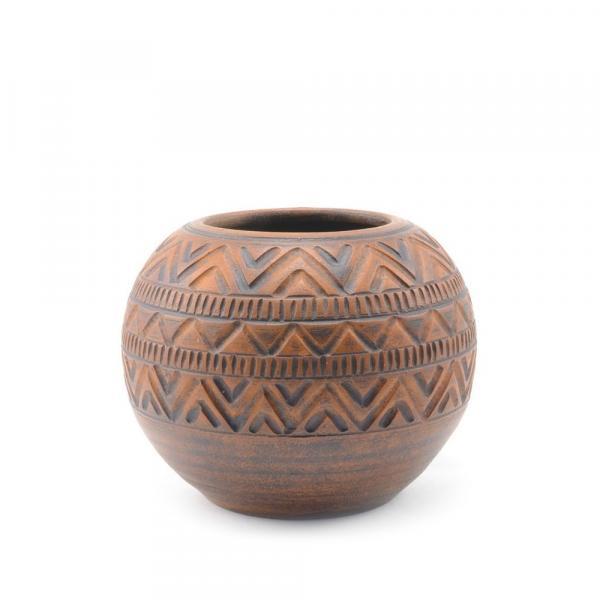 Калабас для мате глиняный «Узоры ацтеков»