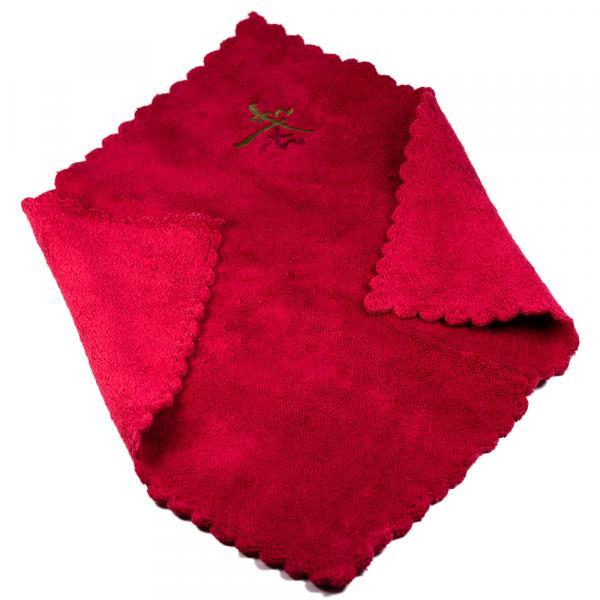 Чайное полотенце «Иероглиф чай» красное 30х30 см фото