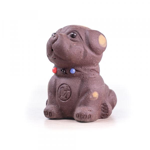 Чайная фигурка «Пятнистый пёс» тёмный 7 см фото