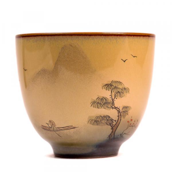 Пиала «Прогулка по& озеру 582» керамика и глазурь 70 мл (ручная работа) фото
